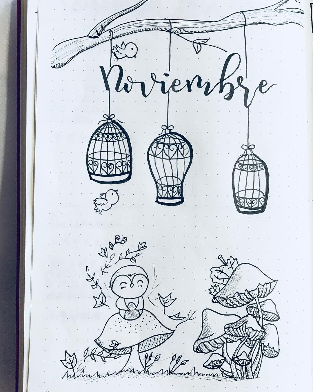 1080x1350 Bullet Journal Monthly Cover Page, November Cover Page, Bird