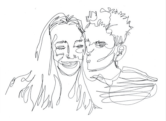570x418 Custom Single Line Drawing One Line Portrait Continuous Line