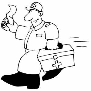 300x300 Paramedic Coming For Help Coloring Page, Paramedic Coloring Pages