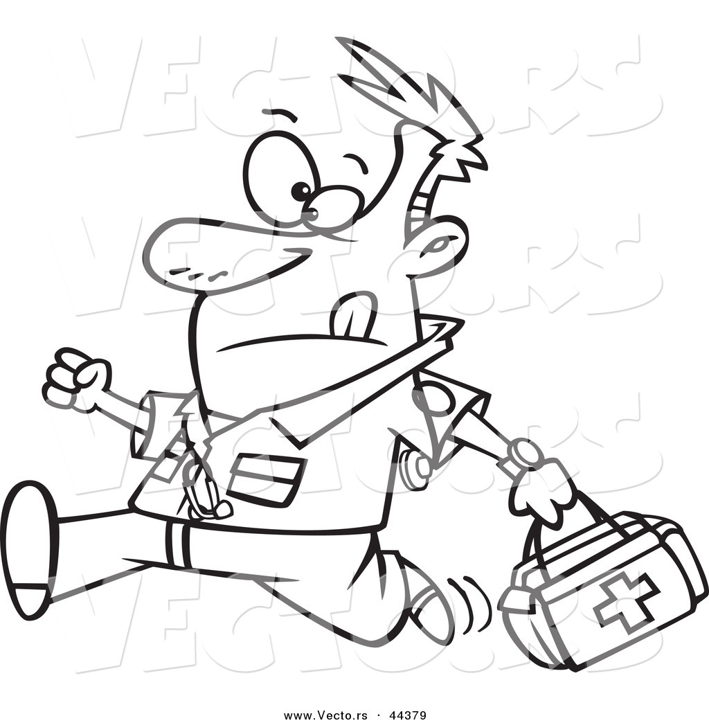 1024x1044 Vector Of A Running Cartoon Male Emt With A First Aid Kit