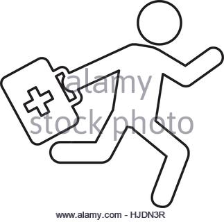 323x320 Paramedic Running With Medical Kit Vector Illustration Design