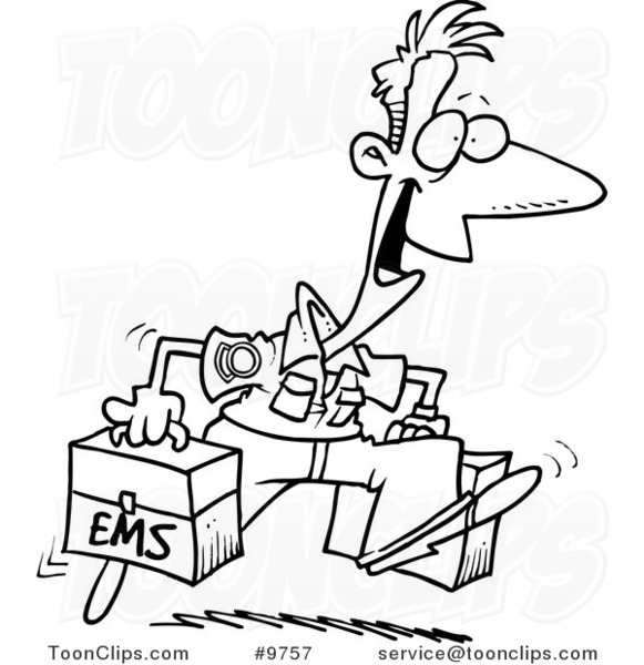 581x600 Cartoon Black And White Line Drawing Of A Happy Paramedic