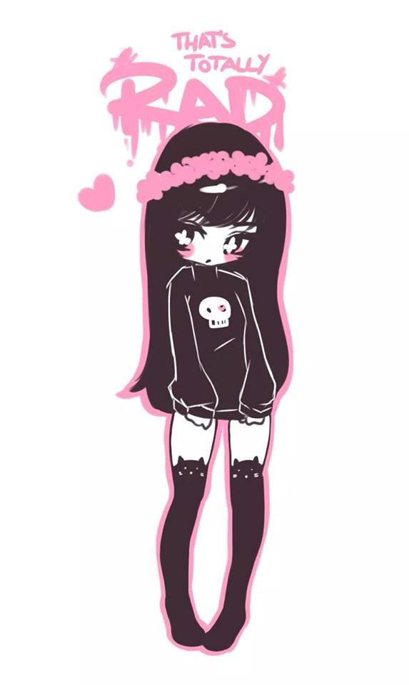 573x960 Cute Black Hair Pastel Goth Girl Drawing ^^ Pastel Goth