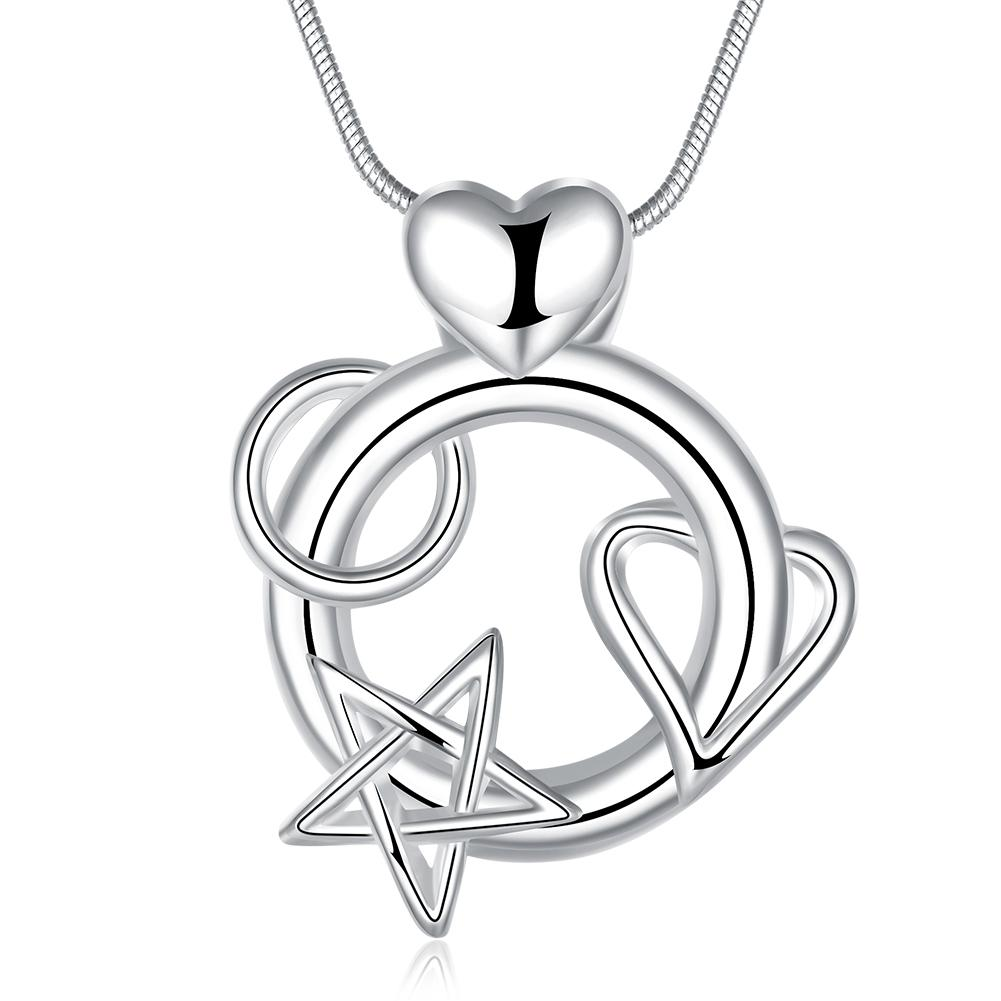1001x1001 Wholesale Silver Heart Pendant Attached To Star India Ms. Necklace