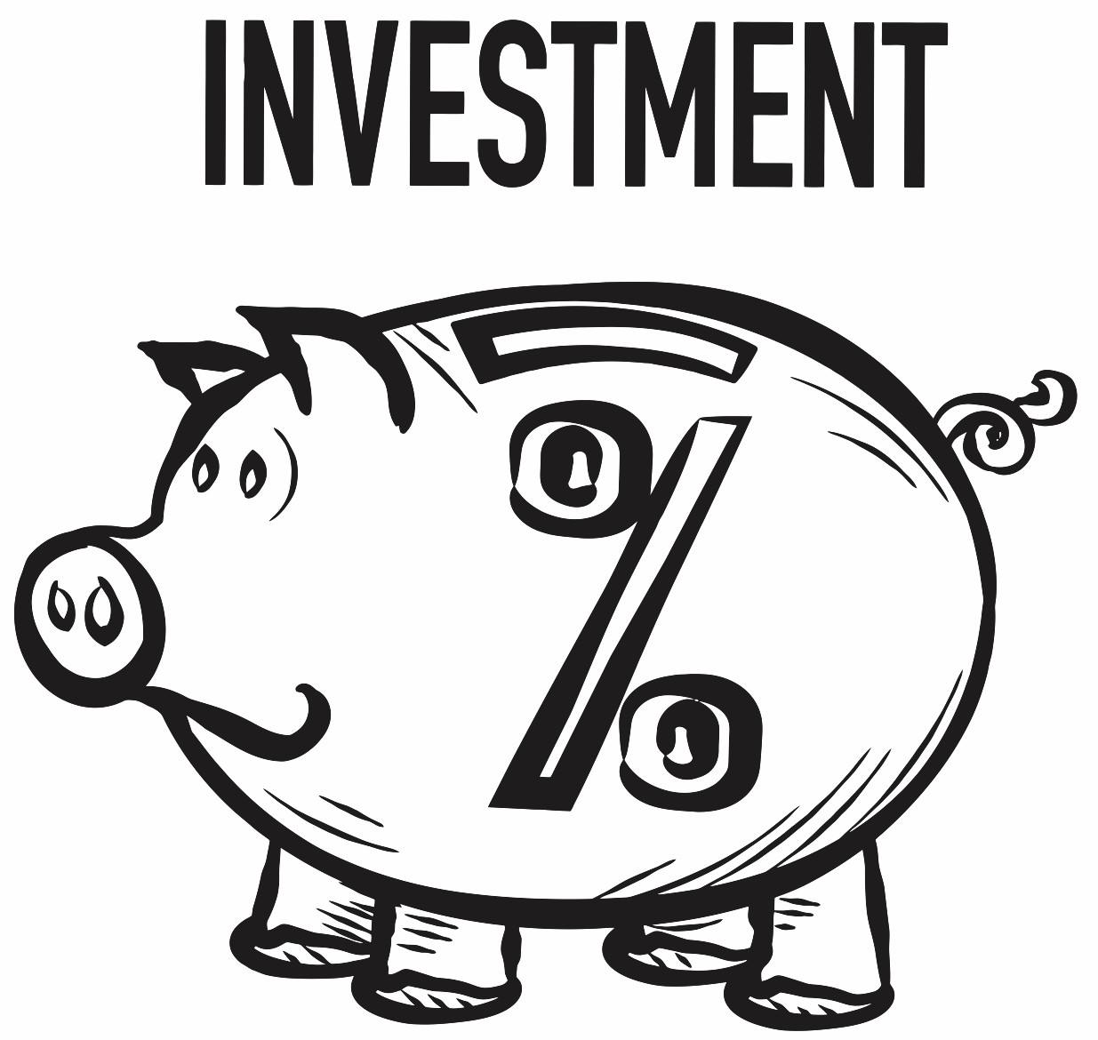 1235x1170 Cute Piggy Bank Investment Percentage Concept Printable Image