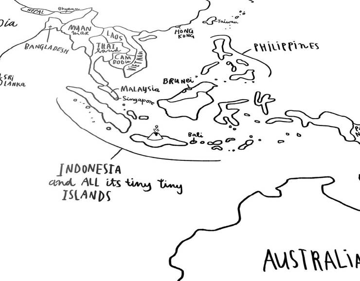740x578 Sketch World Map Black And White Poster Awesome Maps