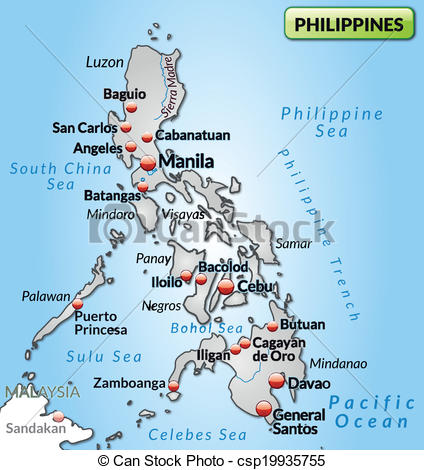 424x470 Map Of Philippines As An Overview Map In Gray.