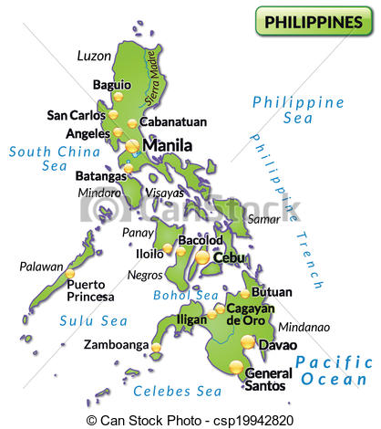 418x470 Map Of Philippines As An Overview Map In Green.