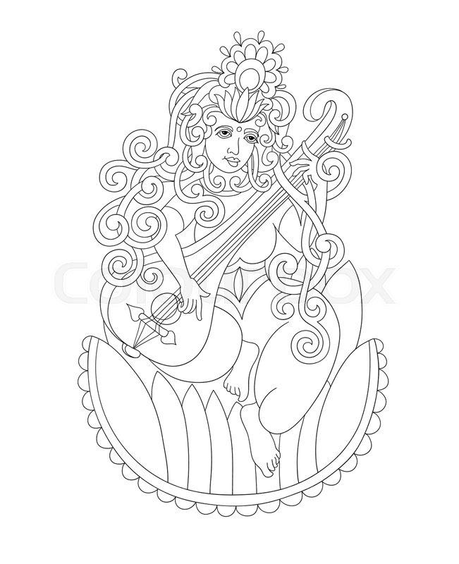 651x800 Black And White Drawing Of Indian Hindu Goddess Saraswati, Symbol