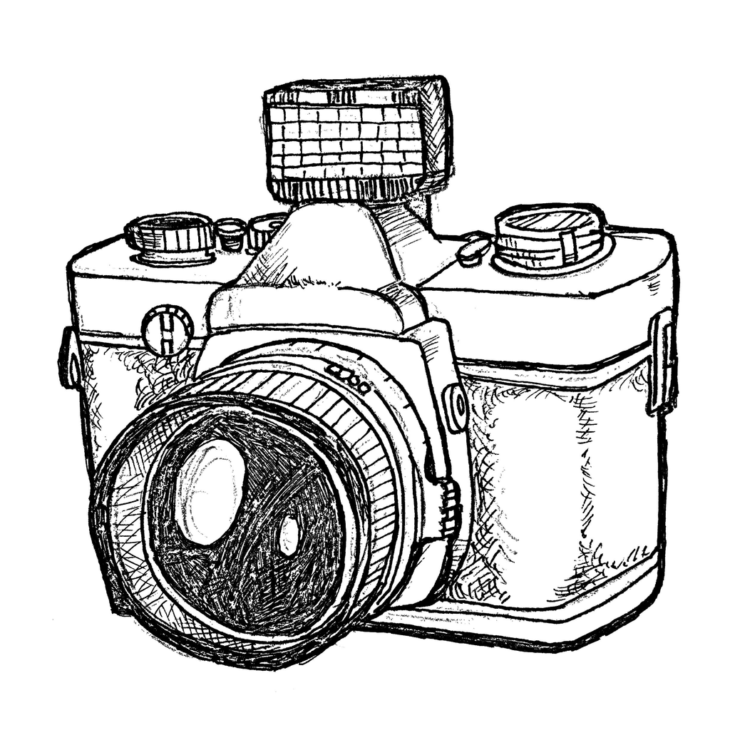 Photographer With Camera Drawing Png