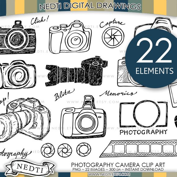 570x570 Camera Photography Doodle Clip Art, Png, Small Commercial Use Ok