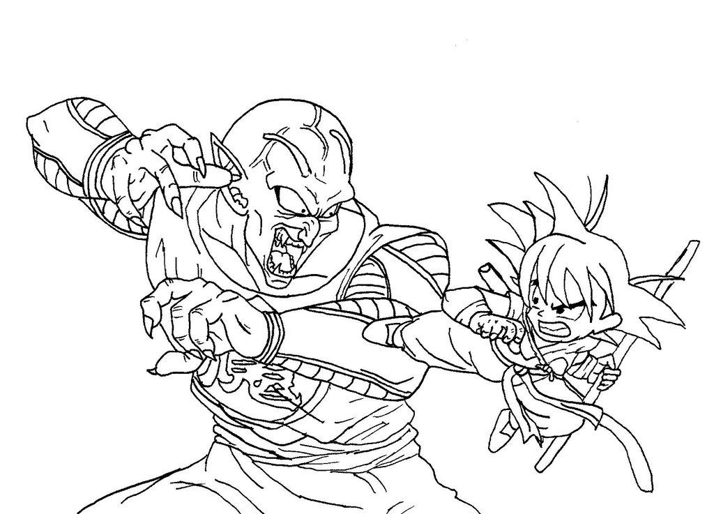 1024x737 Goku Vs. King Piccolo No Color By Caleb1029