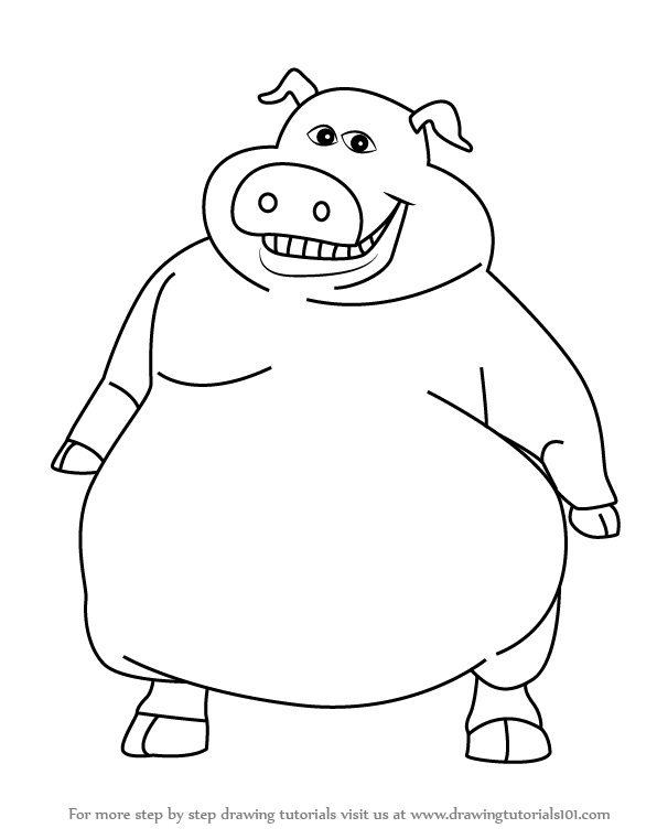 596x761 Learn How To Draw Pig From Barnyard (Barnyard) Step By Step