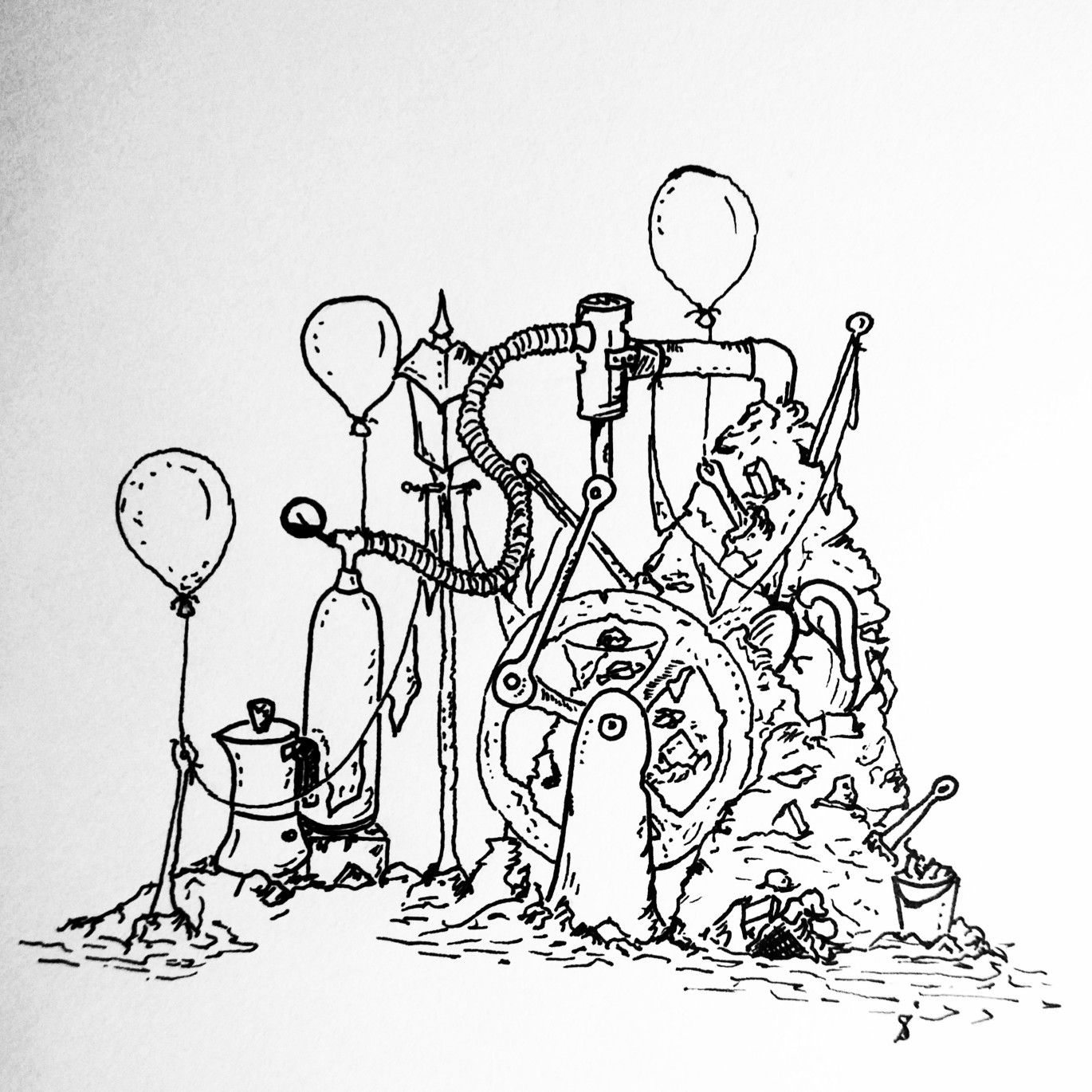 1370x1370 30 Drawing Days Challenge. Day2. Pumping Station On A Pile. 30