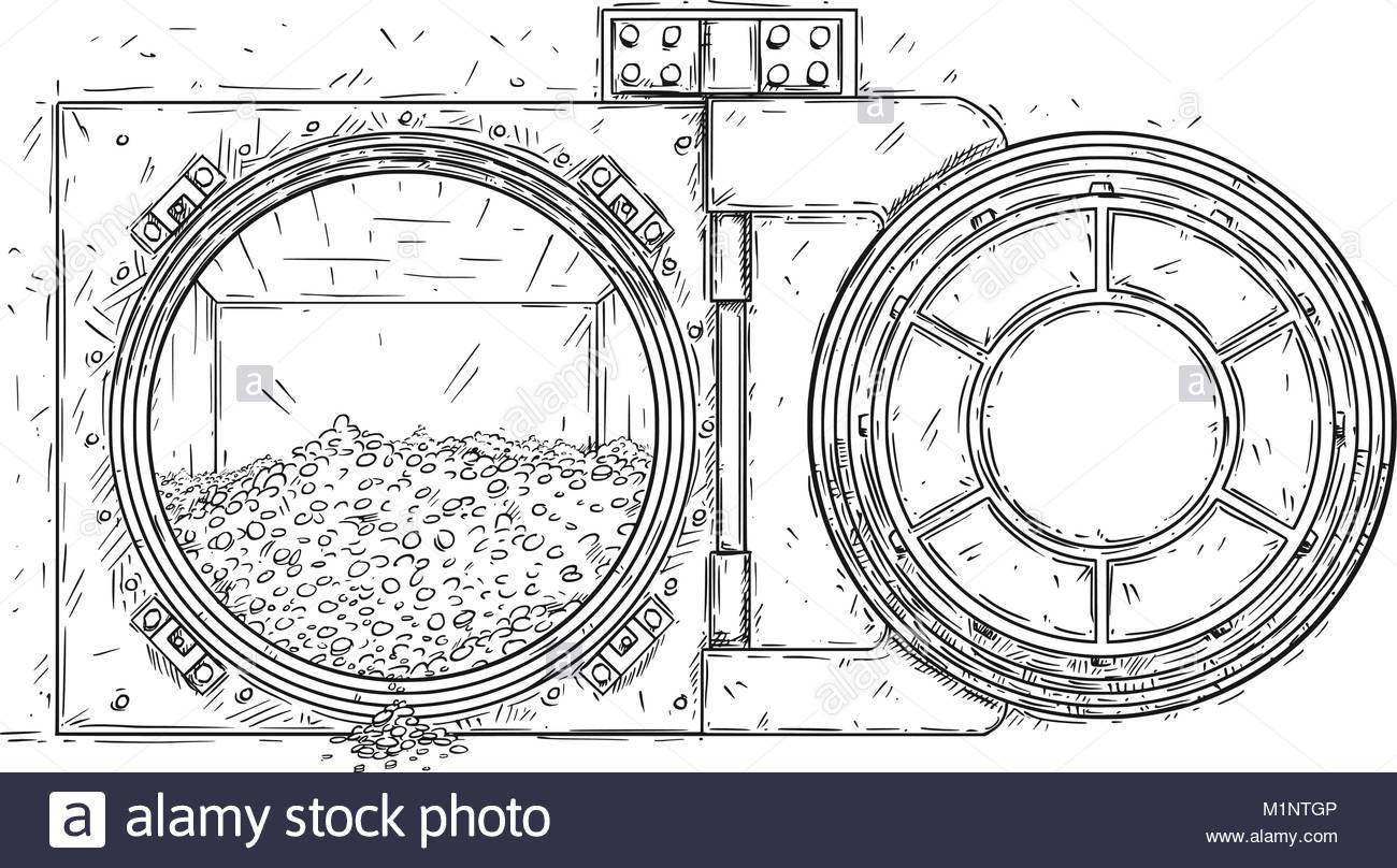 1300x808 Cartoon Vector Drawing Of Open Vault Door With Pile Of Gold Coins