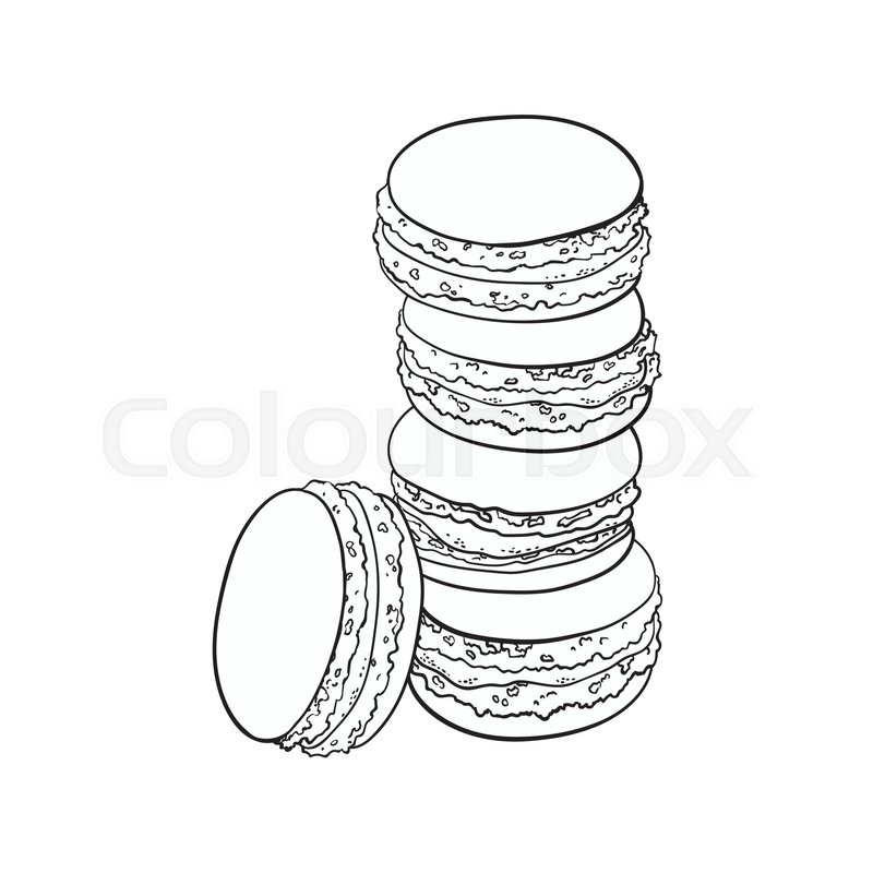800x800 Black And White Stack Of Macaron, Macaroon Almond Cakes, Sketch