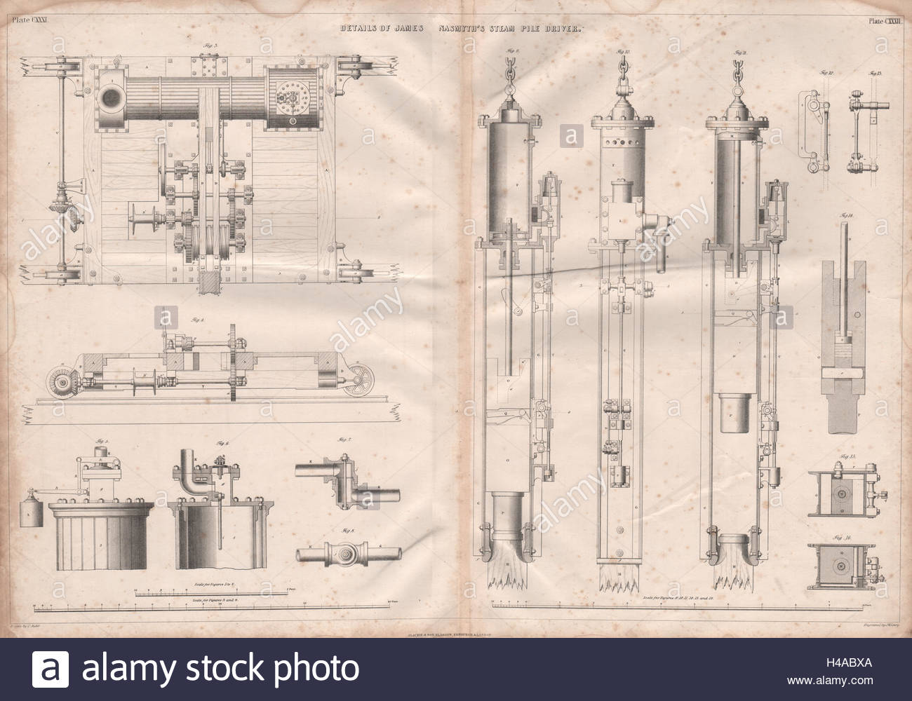 1300x1000 Victorian Engineering Drawing. James Nasmyth's Steam Pile Driver