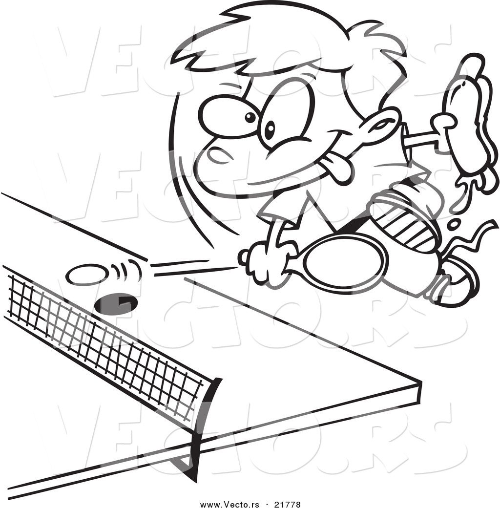 1024x1044 Vector Of A Cartoon Boy Holding A Hot Dog And Playing Ping Pong
