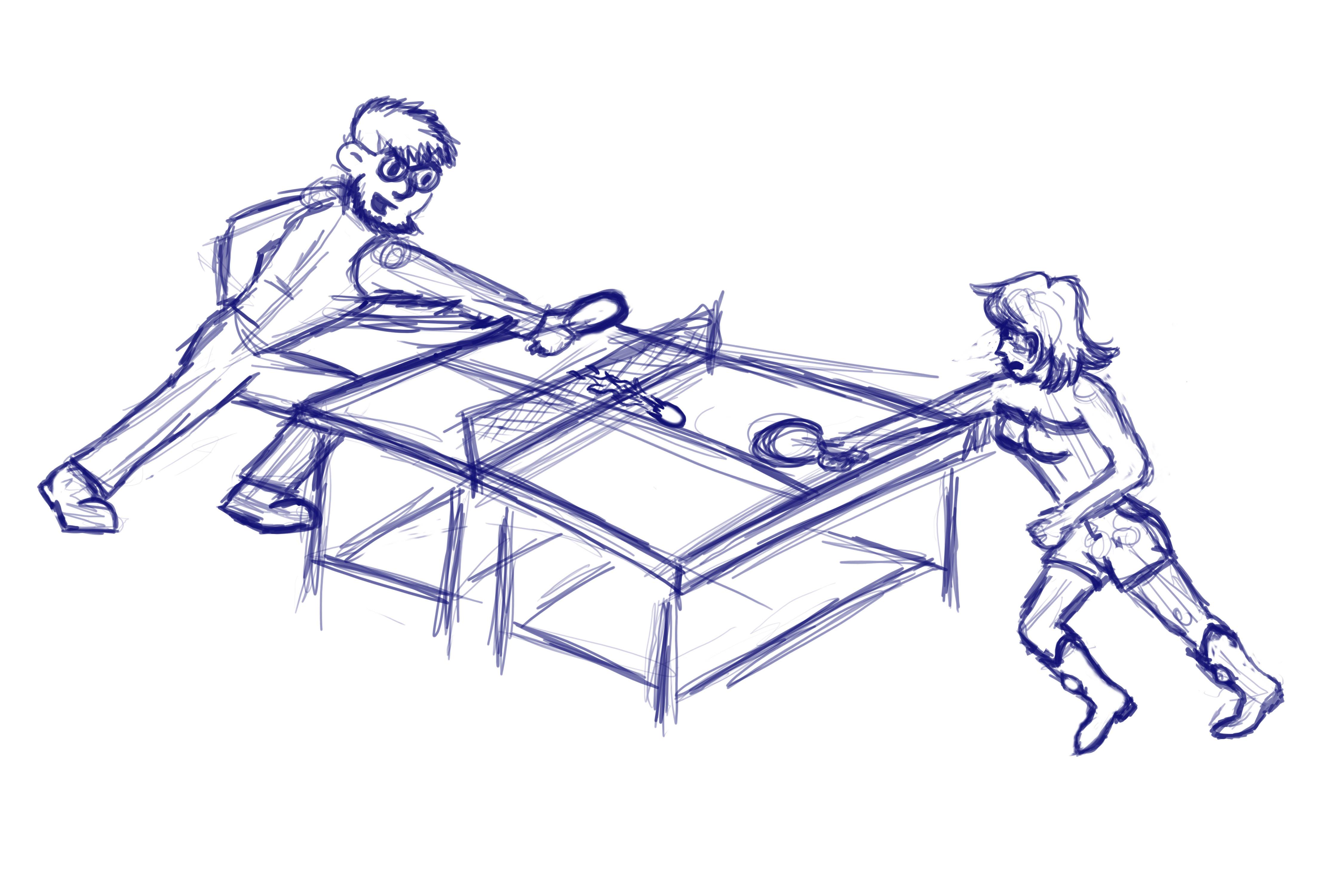4500x3000 My Rough Sketch Of Nebris And Haru Playing The Ping Pong Mindcrack