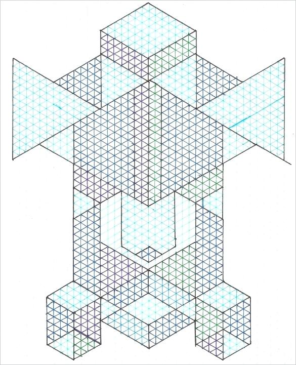 585x721 Isometric Drawing Template And Drafting Isometric Examples