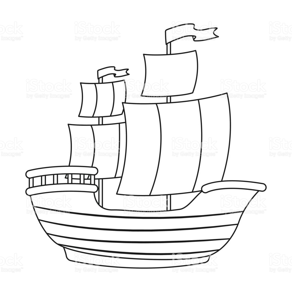 1024x1024 Lavishly Pirate Ship Outline Helpful Simple Drawing Sketch Picture