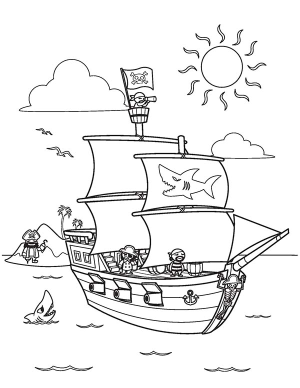 600x776 Pirate Ship Coloring Page