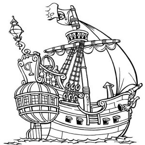 300x300 Pirate Ship Coloring Page Lovely Easy Pirate Ship Drawing