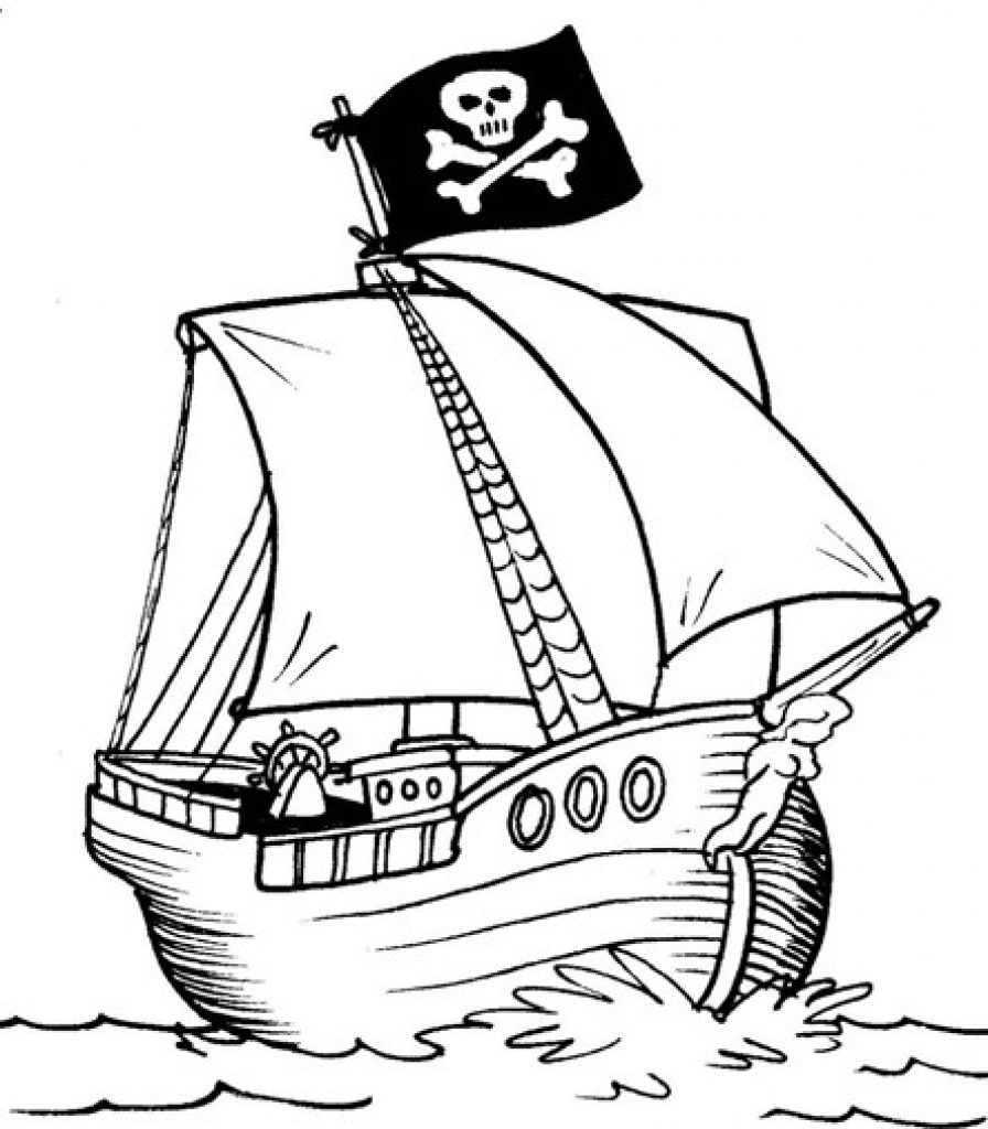 896x1024 Captain Hook Pirate Ship Coloring Page Free Printable Pages Adult