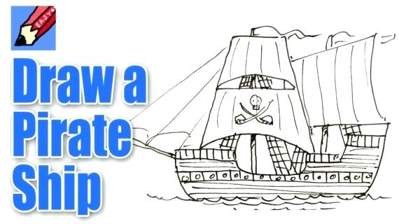 570x320 How To Draw A Pirate Ship Packed With Simple Pirate Ship Drawing