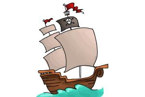 300x200 How To Draw A Pirate Ship For Kids