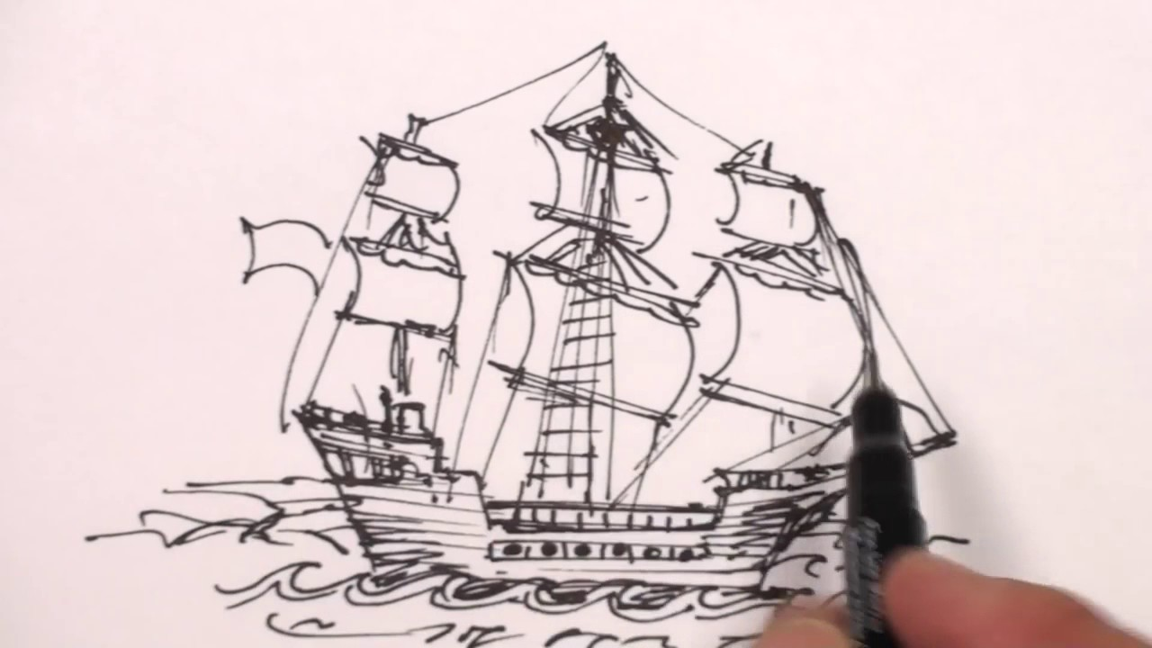 1280x720 How To Draw A Pirate Ship Step By Step Easy Drawing Lesson