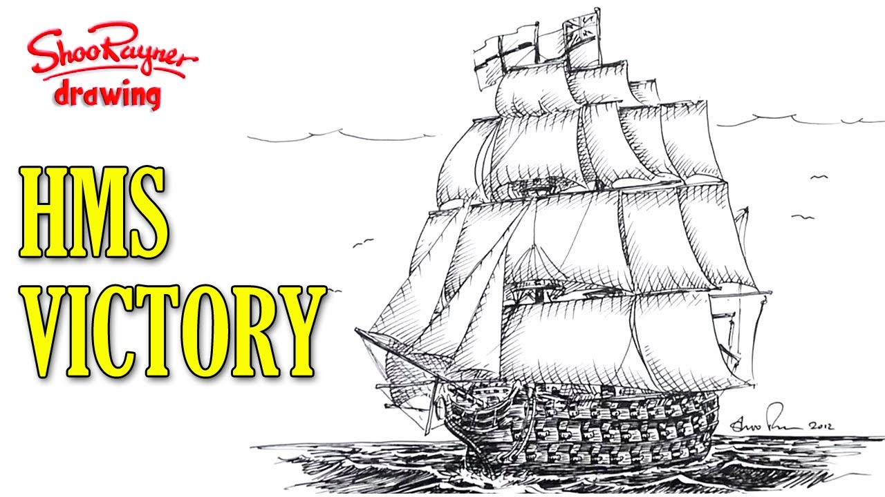 1280x720 How To Draw A Man Of War Sailing Ship