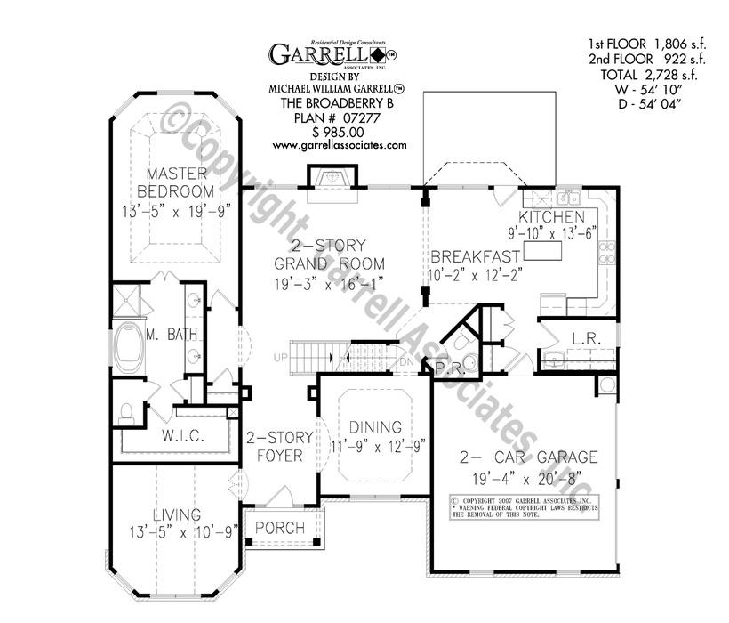 820x700 Broadberry B House Plan House Plans By Garrell Associates, Inc.