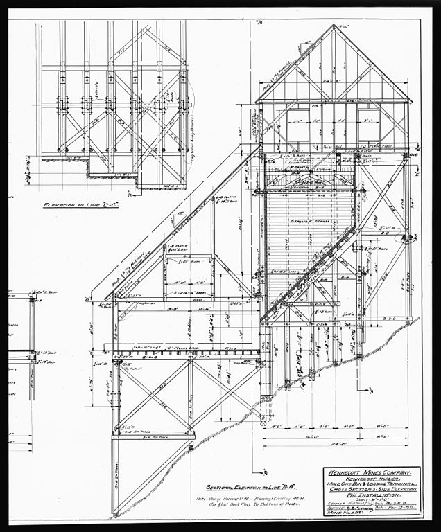 636x768 File44. Photocopy Of Drawing Of The Mine Ore Bin And Loading
