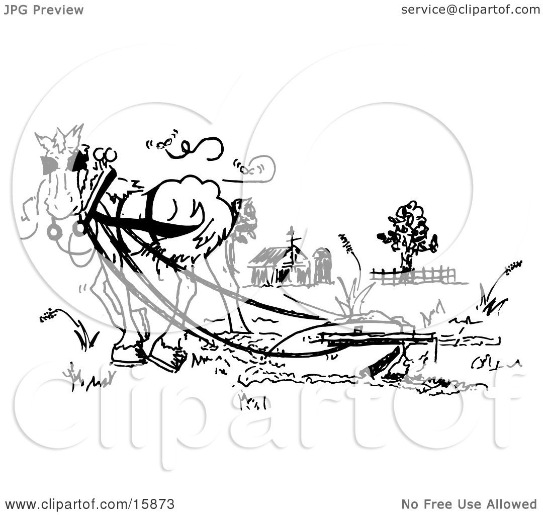 1080x1024 Black And White Drawing Of A Horse Pulling A Plow In A Pasture