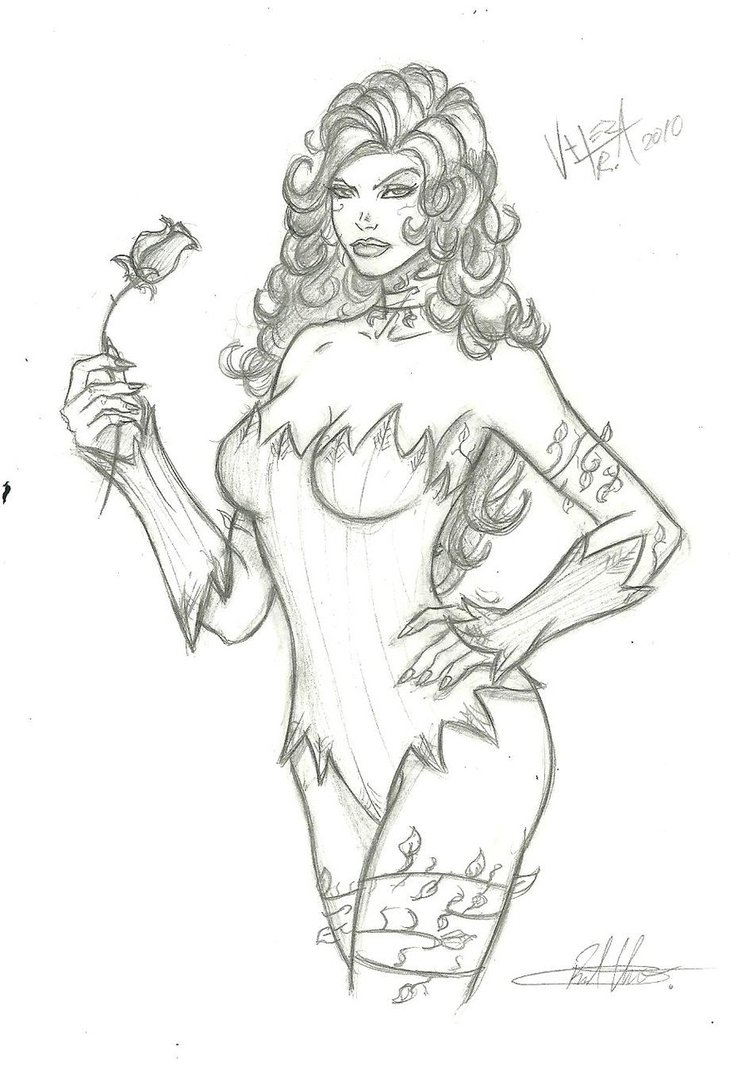 749x1066 Poison Ivy Batman Drawing Poison Ivy Quick Sketch By Rv1994