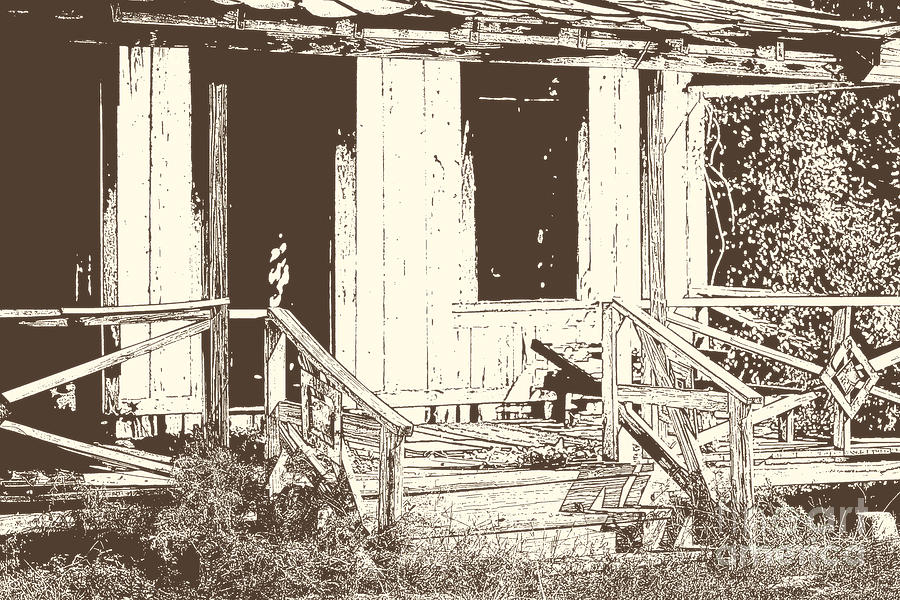 900x600 Drawing Of An Old House With Porch In Brown 3000.04 Drawing By