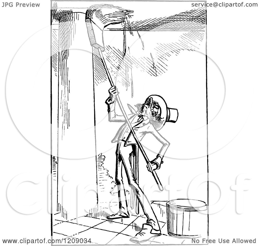 1080x1024 Clipart Of A Vintage Black And White Man Washing A Porch