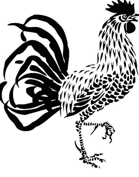479x609 Rooster, Fowl, Raise, Poultry, Cock, Drawing, Farm, Farmhouse