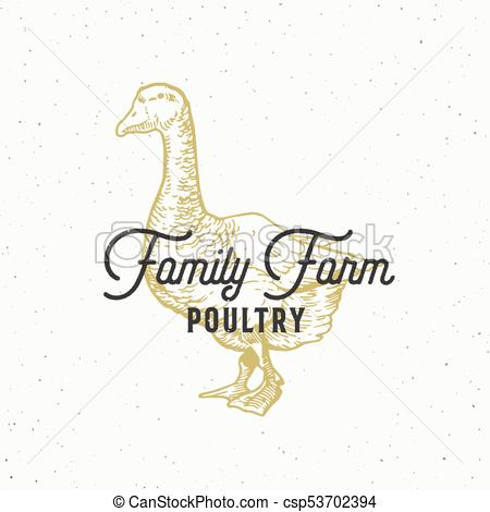 450x470 Family Farm Poultry Abstract Vector Sign, Symbol Or Logo Template