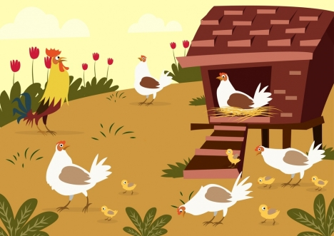468x331 Farm Poultry Drawing Cock Chicken Icons Colored Cartoon Vectors