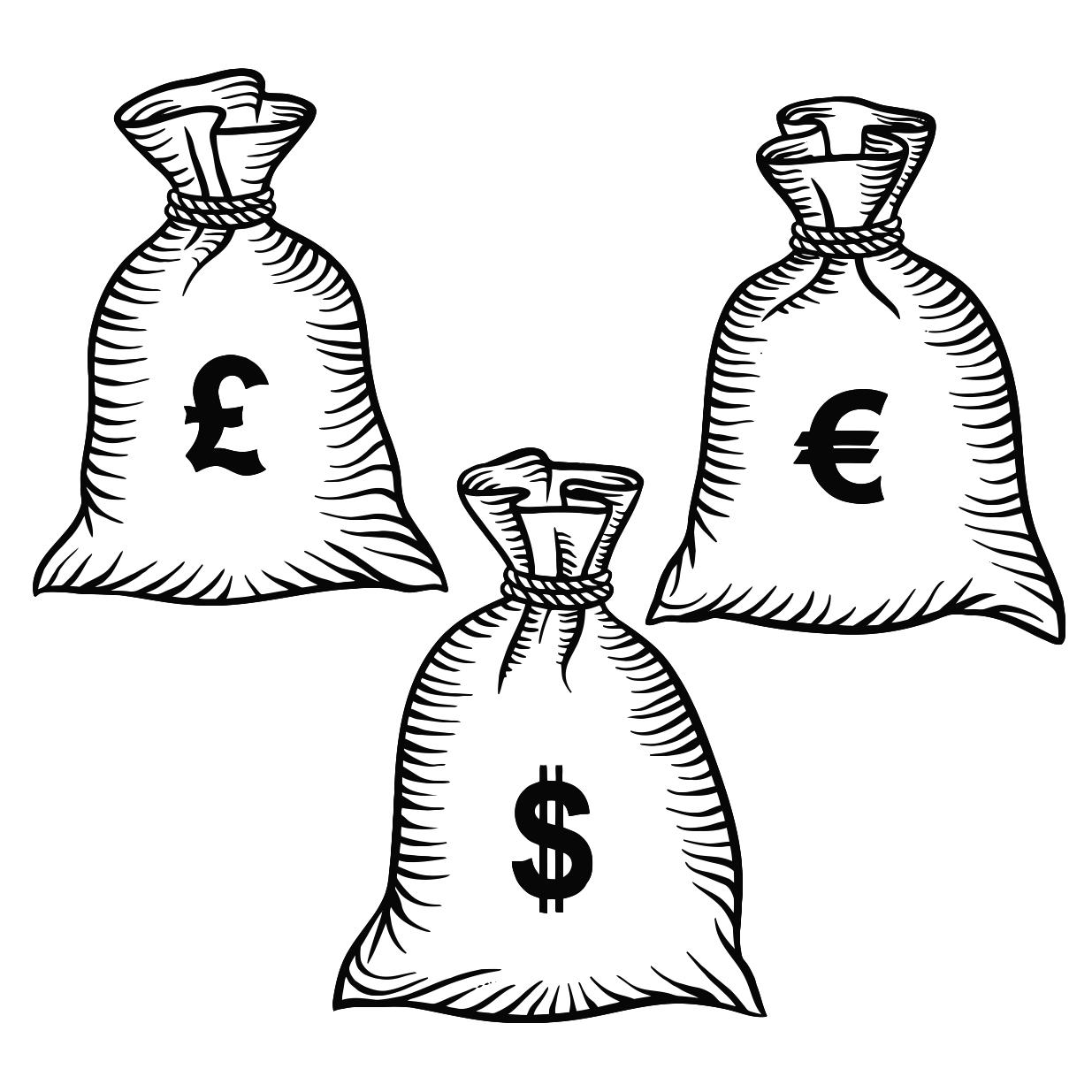 1235x1235 Money Bags With Dollars Euro And Pound Printable Image