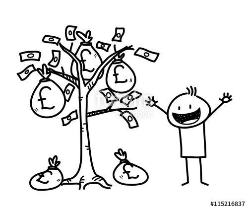 500x421 Money Tree Business Stick Figure Doodle (Pound Sterling), A Hand
