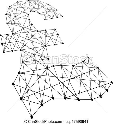 427x470 Pound Sterling Sign From Polygonal Black Lines And Dots Of Eps