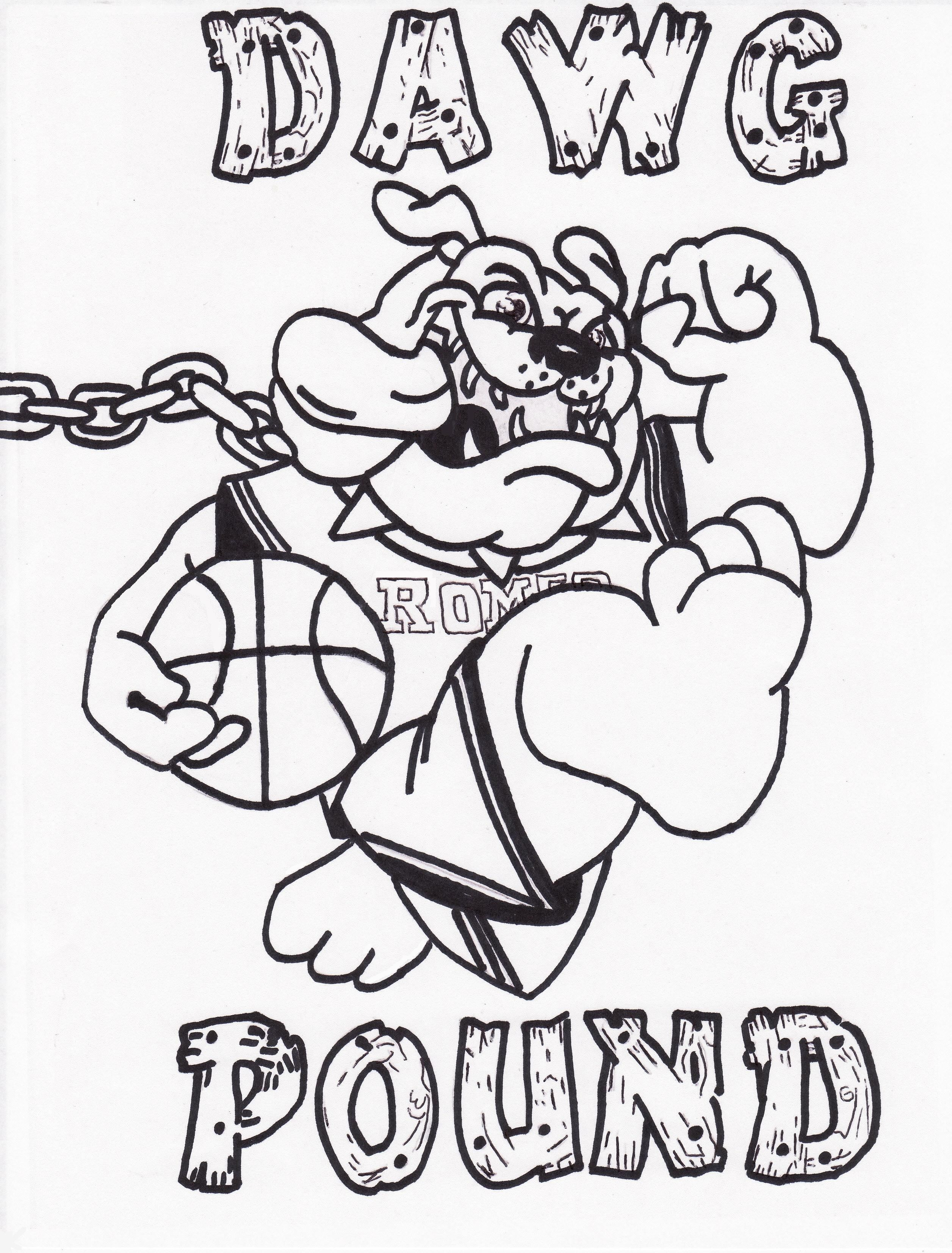 2512x3304 Romeo High School Basketball Dawg Pound Logo Drawings