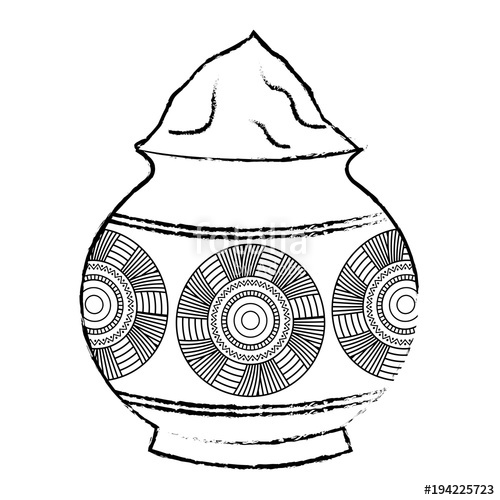 500x500 Powder Color Mud Pot And Mandala Vector Illustration Sketch Style