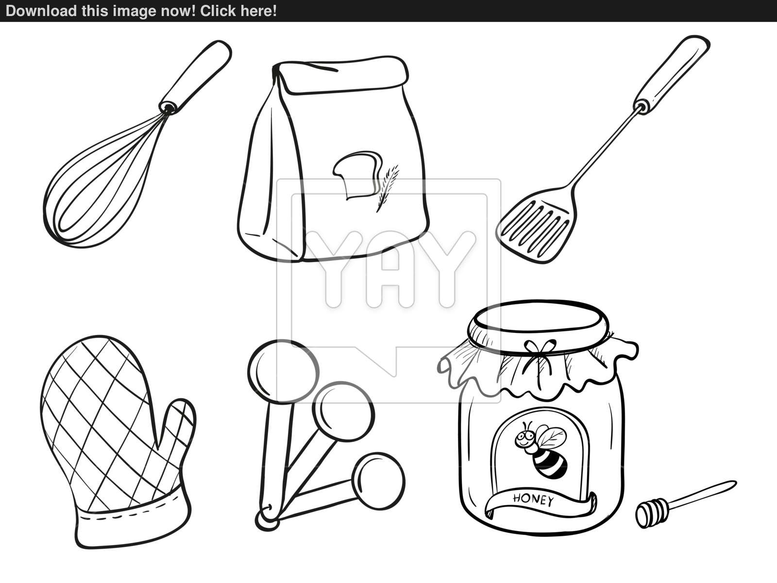1600x1201 A Doodle Set Of Kitchen Utensils, Baking Powder And Honey Jam