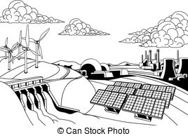268x194 Power Plant Energy Generation Illus. Illustration Of A Power