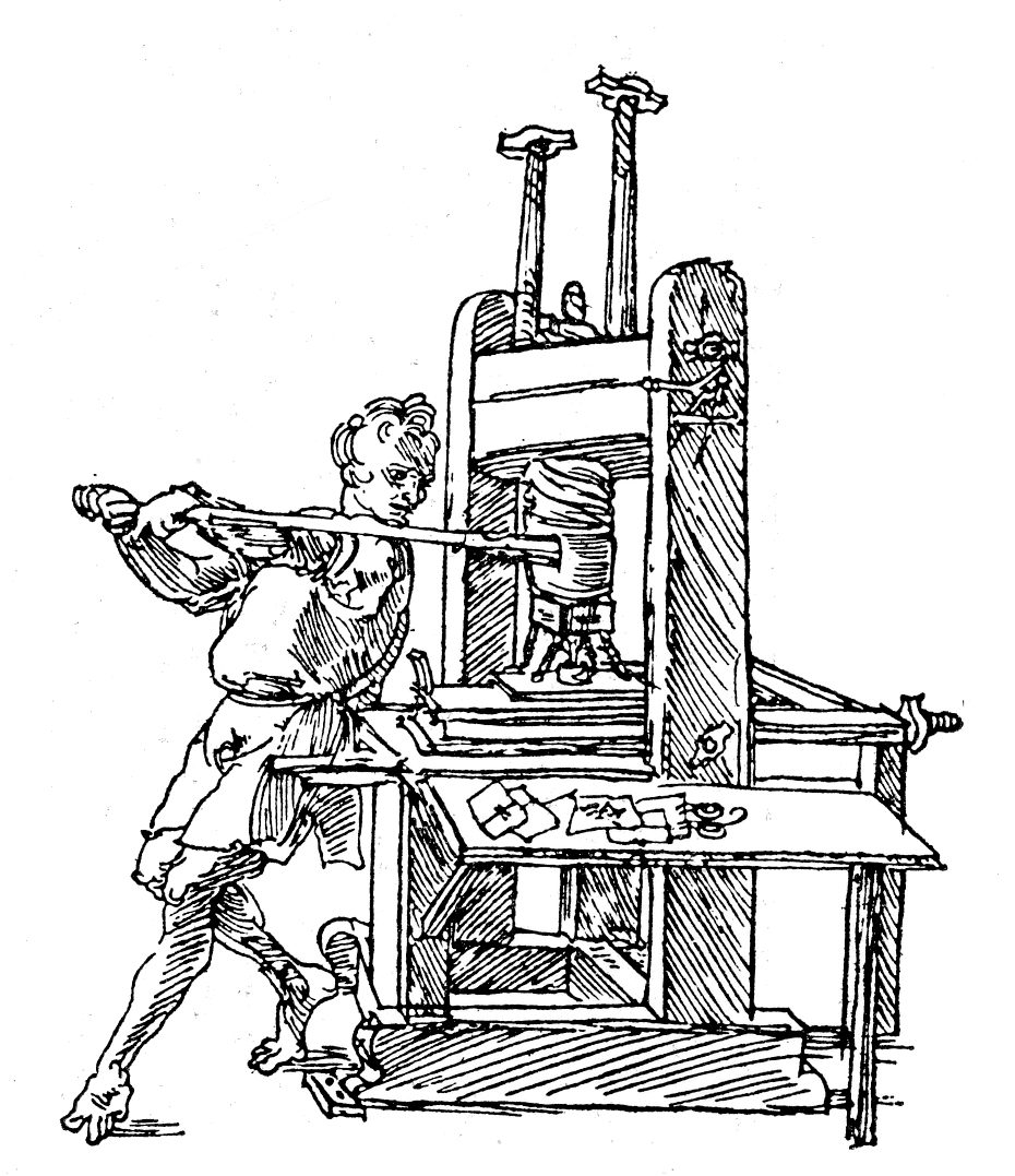 930x1077 Albrecht Durer's Drawing Of A Printing Press, Nuremberg, Germany