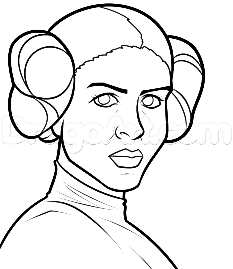 Princess Leia Cartoon Drawing